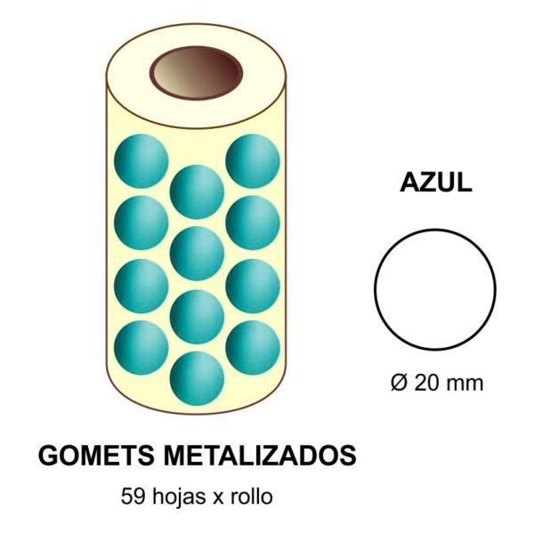 GOMETS METALIZADOS EN ESTUCHE: azul - Ø 20 mm