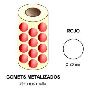 GOMETS METALIZADOS EN ESTUCHE: rojo - Ø 20 mm