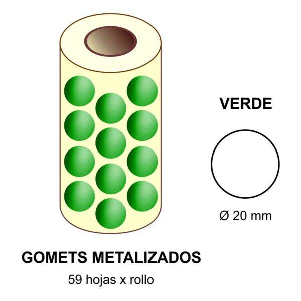 GOMETS METALIZADOS EN ESTUCHE: verde - Ø 20 mm