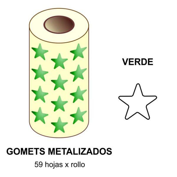 GOMETS METALIZADOS EN ESTUCHE: VERDE ESTRELLA GRANDE