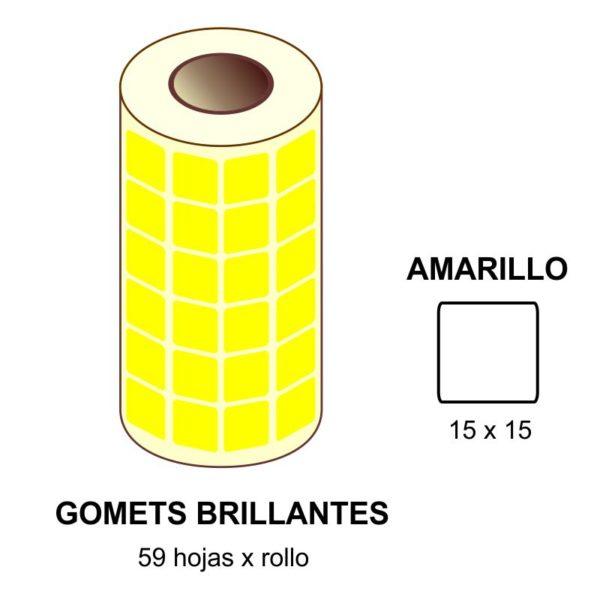 GOMETS AMARILLOS EN ESTUCHE 15 x 15 MM