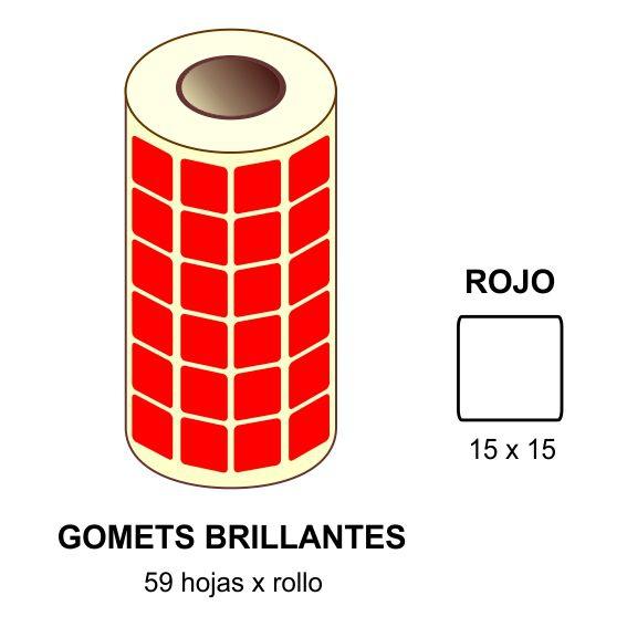 GOMETS ROJOS EN ESTUCHE 15 x 15 MM
