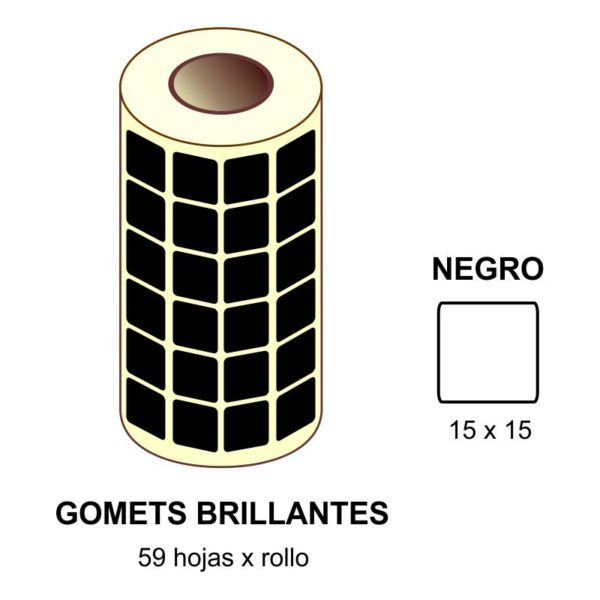 GOMETS NEGROS EN ESTUCHE 15 x 15 MM