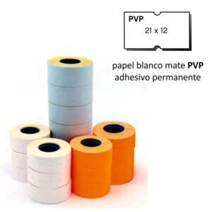 Etiquetas 21x12 P.V.P. blanco removible pack de 6 rollos