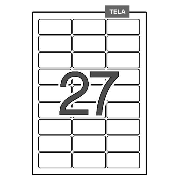 Etiquetas adhesivas para identificación blancas - tela – permanente 63,5 x 29,6