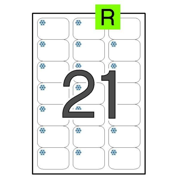 Etiquetas adhesivas para congelados blancas - removible 63,5 x 38,1
