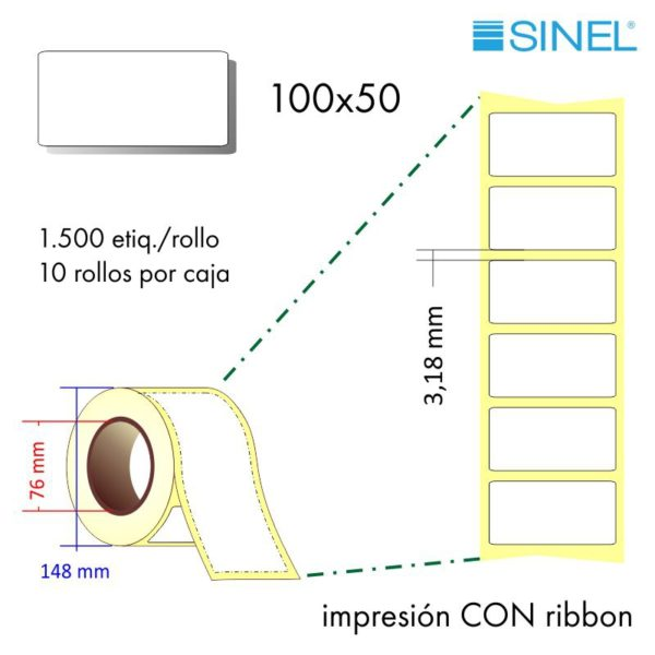 100x50 (76x148) Etiquetas Rollo Transferencia Térmica / 10x1500