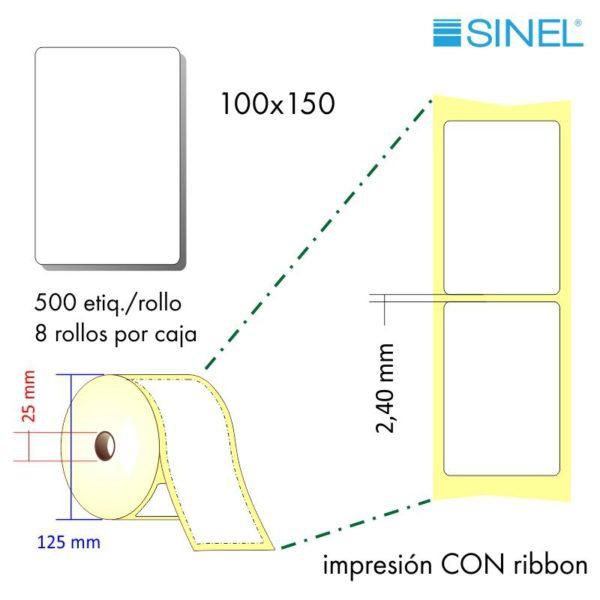 100x150 (25x125) Etiquetas Rollo Transferencia Térmica / 8x500