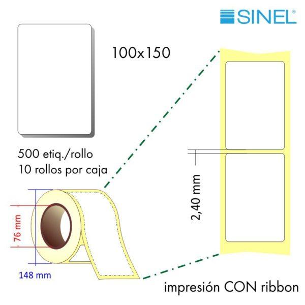 100x150 (76x148) Etiquetas Rollo Transferencia Térmica / 10x500