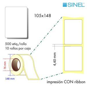 105x148 (76x148) Etiquetas Rollo Transferencia Térmica / 10x500