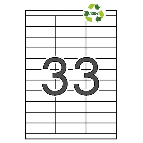 APLI 70 x 25,4 Etiquetas blancas cantos rectos 100 hojas recicladas