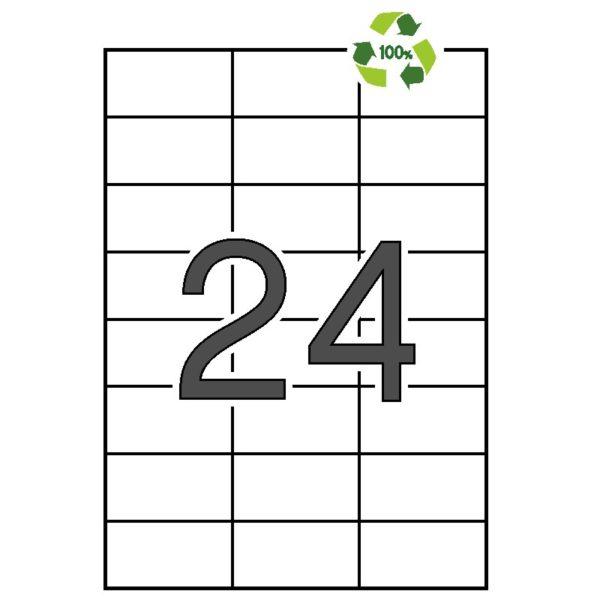 APLI 70 x 37 Etiquetas blancas cantos rectos 100 hojas recicladas