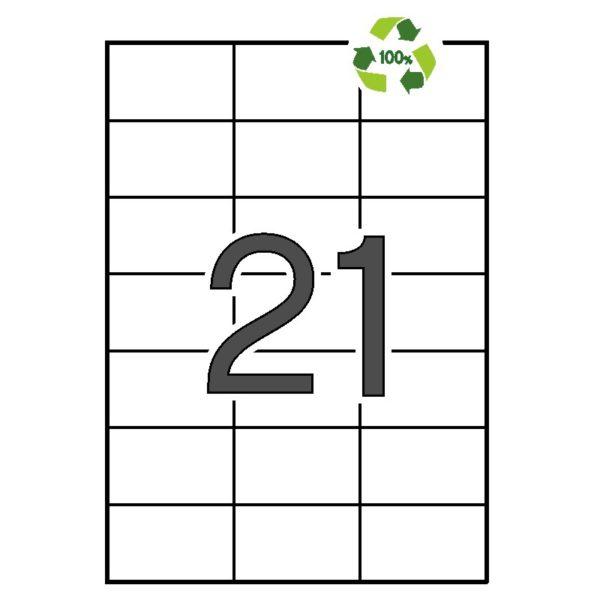 APLI 70 x 42,4 Etiquetas blancas cantos rectos 100 hojas recicladas
