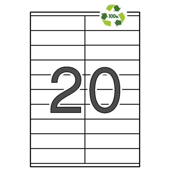 APLI 105 x 29 Etiquetas blancas cantos rectos 100 hojas recicladas