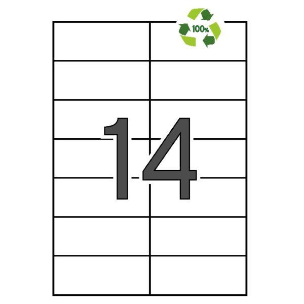 APLI 105 x 42,4 Etiquetas blancas cantos rectos 100 hojas recicladas