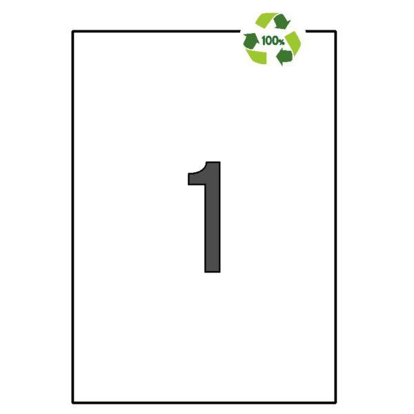 APLI 210 x 297 Etiquetas blancas cantos rectos 100 hojas recicladas