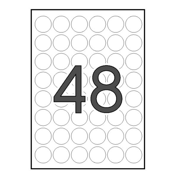 APLI 30 x 30 Etiquetas blancas circulares 25 hojas