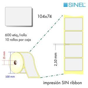 104x74 (76x148) Etiquetas Rollo Térmico Directo / 10x600