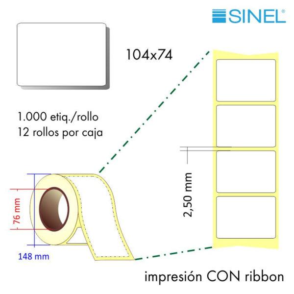 104x74 (76x148) Etiquetas Rollo Transferencia Térmica / 12x1000