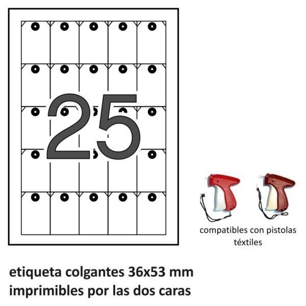 36 x 53 mm Etiquetas colgantes imprimibles por las dos caras