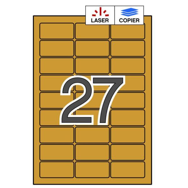 APLI 63,5 x 29,6 Etiquetas adhesivas oro mate 20 hojas