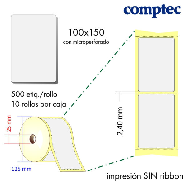 100x150 - MP (25x125) Etiquetas Rollo Térmico Directo / 10x500