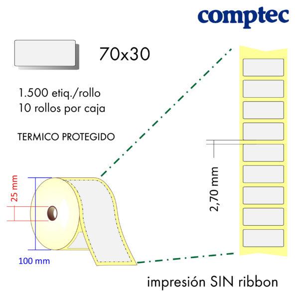 70x30 (25x100) Etiquetas Rollo Térmico Directo Protegido / 10x1500