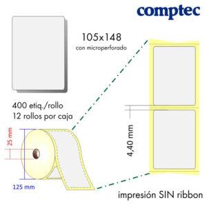 105x148 - MP (25x125) Etiquetas Rollo Térmico Directo / 12x400