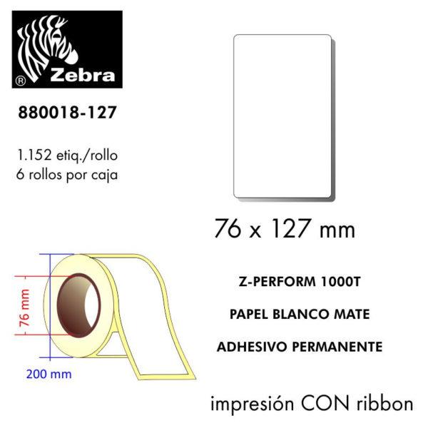 etiqueta rollo ZEBRA 880018-127