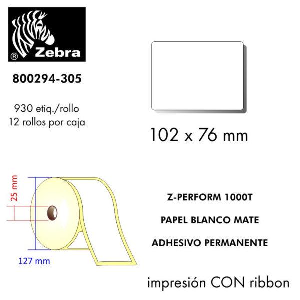etiqueta rollo ZEBRA 800294-305
