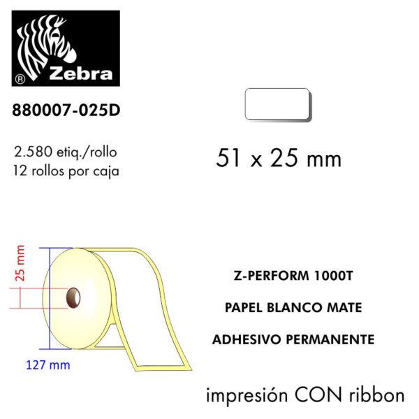 etiqueta rollo ZEBRA 880007-025D