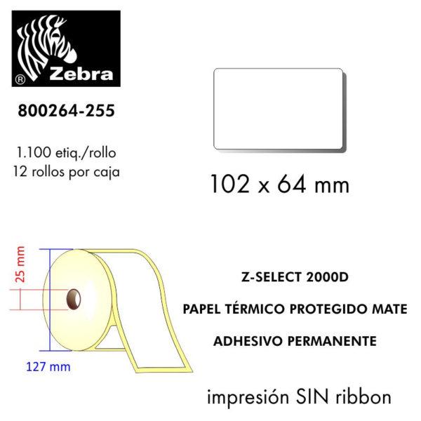etiqueta rollo ZEBRA 800264-255