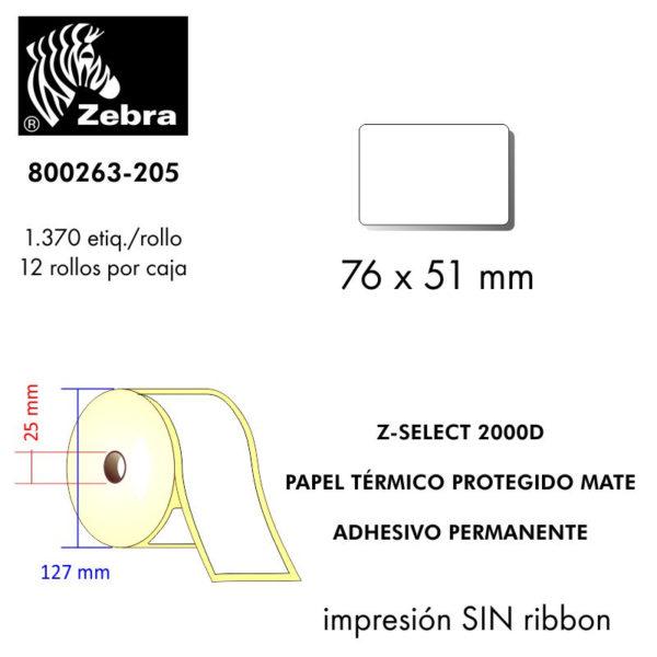 etiqueta rollo ZEBRA 800263-205
