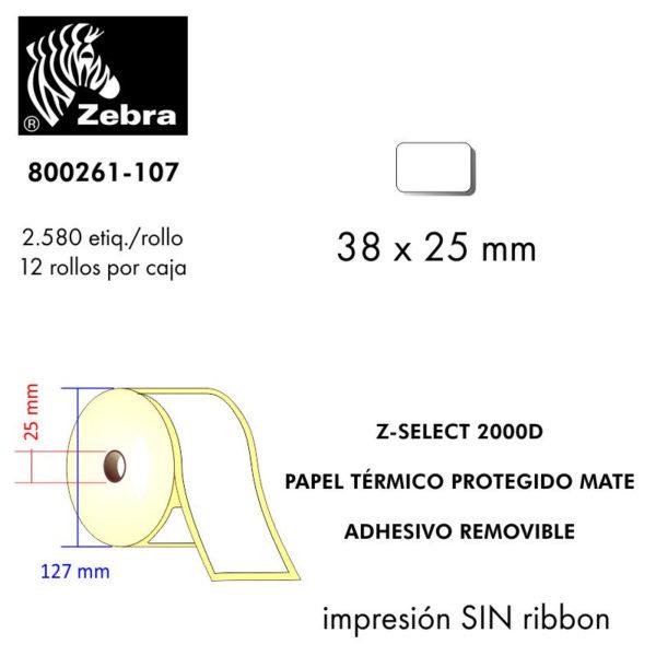 etiqueta rollo ZEBRA 800261-107