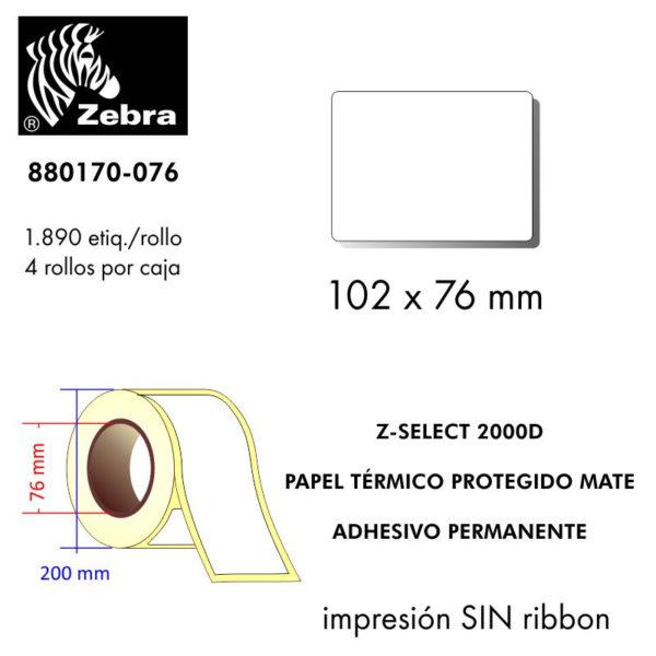 etiqueta rollo ZEBRA 880170-076