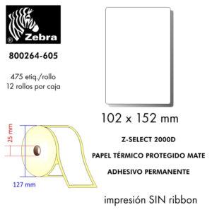 etiqueta rollo ZEBRA 800264-605