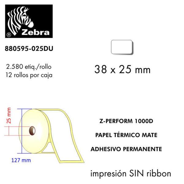 etiqueta rollo ZEBRA 880595-025DU