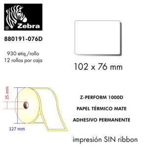 etiqueta rollo ZEBRA 880191-076D