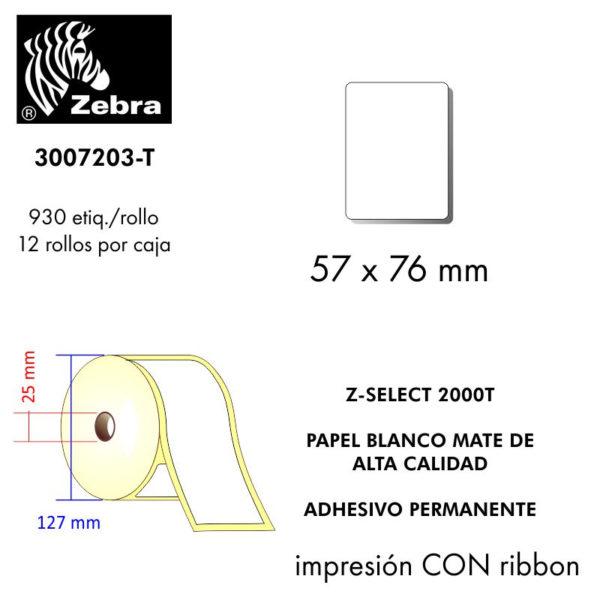 etiqueta rollo ZEBRA 3007203-T
