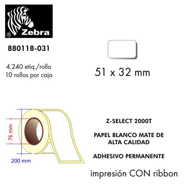 etiqueta rollo ZEBRA 880118-031