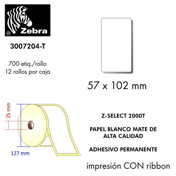 etiquetas rollo zebra 3007204-T