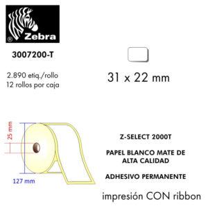 etiqueta rollo ZEBRA 3007200-T